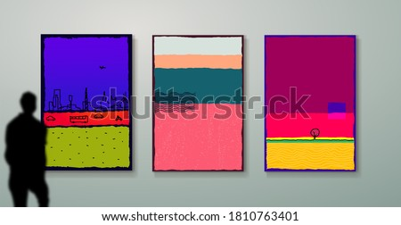 Set of creative minimalist hand painted for wall decoration, postcard or brochure cover design. Picture gallery. Free hand drawing. Vector illustration isolated on white background.