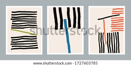 Set of creative minimalist hand painted illustration for wall decoration, postcard or brochure design. Vector EPS10.