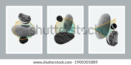 Set of 3 creative minimalist illustrations for wall decoration, postcard or brochure cover design. Vector EPS10.