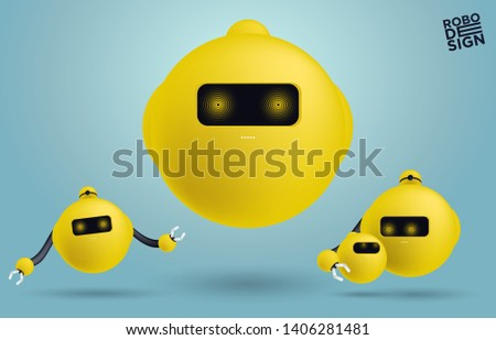 Set of creative modern robots vector character - Vector