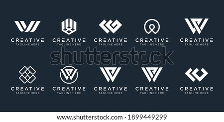 Set of creative monogram initial W logo template. icons for business of fashion, sport, automotive, simple. Zdjęcia stock ©