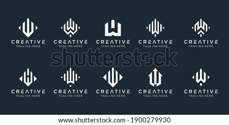 Set of creative monogram initial W logo template. icons for business of fashion, sport, digital, technology, simple. Zdjęcia stock ©