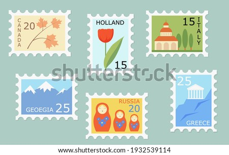 Set of creative post stamps with different countries landmarks and symbols. Fun postage stamp vector designs for using on envelopes. Mail and post office concept. Foto stock ©