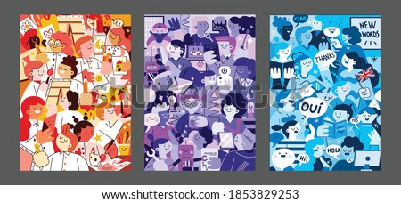 Set of creative student studied languages courses, Robotic courses, and Art Courses hand painted illustrations for wall decoration, postcard or brochure cover design. Vector EPS10