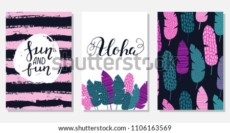 Set of creative summer floral cards in tropical style. Wedding, anniversary, birthday, Valentin's day, party invitations. Vector. Isolated. #1106163569