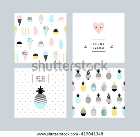Set of creative trendy art posters plus seamless patterns with ice cream and pineapples. Hand drawn textures. Vector. Isolated.