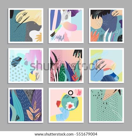 set of creative universal art