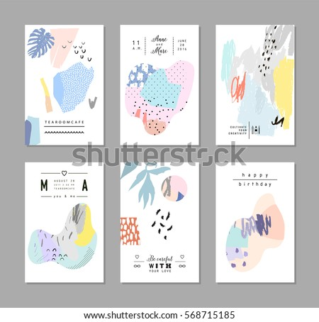 Set of creative universal art posters or cards. Hand Drawn textures. Wedding, anniversary, birthday, Valentin's day, party invitations, covers, decor elements. Vector