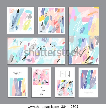 Set of creative universal cards. Hand Drawn textures. Wedding, anniversary, birthday, Valentine's day, party. Design for banner, poster, card, invitation, placard, brochure, flyer. Vector. Isolated.