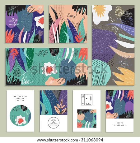 Set of creative universal floral cards. Hand Drawn textures. Wedding, anniversary, birthday, Valentin's day, party invitations. Vector. Isolated.