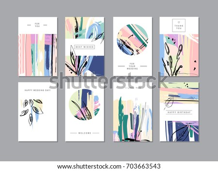 Set of creative universal floral cards in trendy style with Hand Drawn textures.  Greeting Cards, Wedding, Anniversary, Birthday, Valentin's day, Thank You,  Party invitations, Posters. Vector