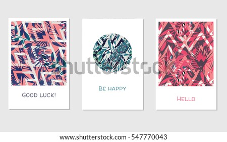 Set of creative universal floral cards in tropical style. Wedding, anniversary, birthday, Valentin's day, party invitations. Vector. Isolated.