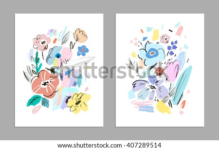 Set of creative universal floral cards. Wedding, anniversary, birthday, Valentin's day, party invitations, art poster. Vector. Isolated.