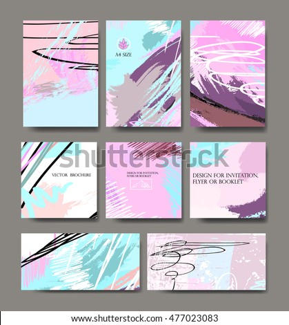 Set of creative universal vector cards. Colorful design for invitation, placard, brochure, poster, banner, flyer. Wedding, birthday, Valentine's day, party.