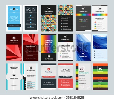 Modern clean brand stationery template set download free vector set of creative vertical business card print templates flat style vector illustration stationery design spiritdancerdesigns Gallery