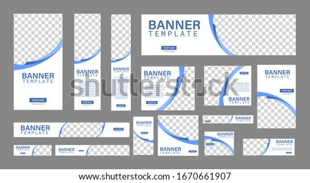 set of creative web banners of standard size with a place for photos. Business ad banner. Vertical, horizontal and square template. vector illustration EPS 10 Stockfoto ©