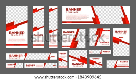 set of creative web banners of standard size with a place for photos. Vertical, horizontal and square template. vector illustration Stockfoto ©
