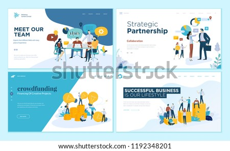 Set of creative website template designs. Vector illustration concepts of web page design for website and mobile website development. Easy to edit and customize. - Shutterstock ID 1192348201