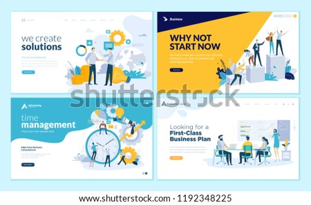 Set of creative website template designs. Vector illustration concepts of web page design for website and mobile website development. Easy to edit and customize. - Shutterstock ID 1192348225