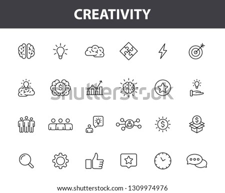 Set of 24 Creativity and Idea web icons in line style. Creativity, Finding solution, Brainstorming, Creative thinking, Brain. Vector illustration #1309974976