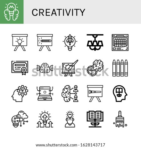 Set of creativity icons. Such as Lightbulb, Idea, Pencil, Lamp, Crayon, Patent, Brain, Creative, Crayons, Innovation, Development, Brainstorm, Paint brush, Knowledge , creativity icons