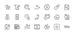Set of Credit and Loan Related Vector Line Icons. Contains such Icons as Credit Card, Rate Calculator, Deposit and more. Editable Stroke. 32x32 Pixel Perfect