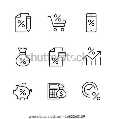 Set of Credit and Loan Related Vector Line Icons. Contains such Icons as Credit Card, Rate Calculator, Deposit and more. Editable Stroke. 32x32 Pixels