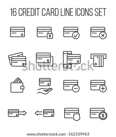 Set of credit card in modern thin line style. High quality black outline banking symbols for web site design and mobile apps. Simple credit card pictograms on a white background.