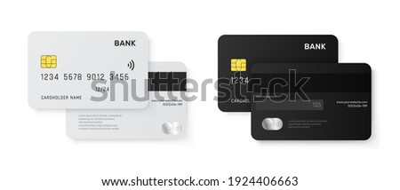 Set of Credit Cards vector mockups isolated on white background.