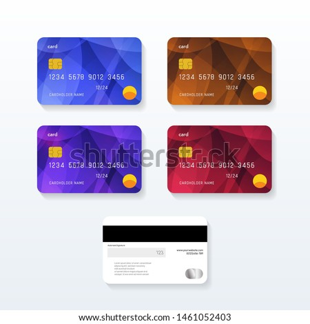 Set of Credit cards with abstract design. Debit card vector design. Foto stock ©