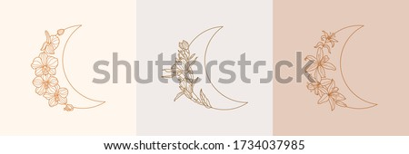 Set of Crescent moon of orchid and Lily flowers in trendy linear minimal style. Vector floral outline emblems for for jewelry stores, handmade masters, cosmetics, Spa, beauty and tattoo salon