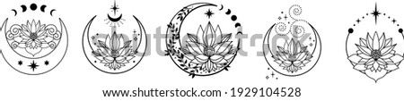 Set of Crescent moons with lotus flower, Flower Moon, Floral magic celestial clipart, Blooming Lotus Moon with Stars, Moon Phases Foto d'archivio ©