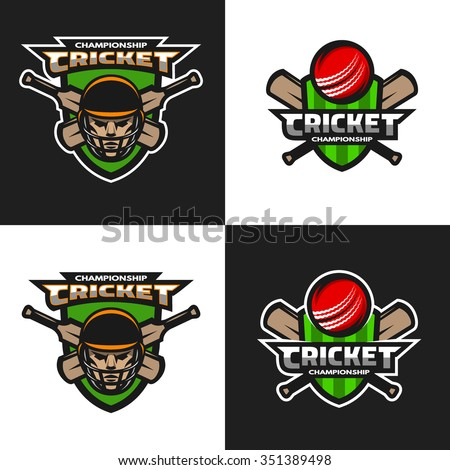 set of  cricket sports logos