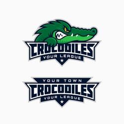 Set of crocodile mascot for a sport team. Vector illustration.