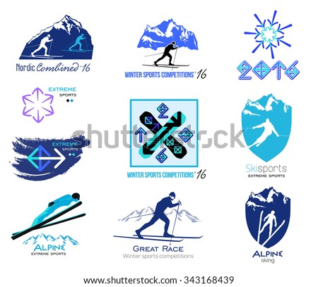 Set of cross-country skiing, winter sports badges for logos and labels. Design elements and icons for sport competitions, ski races, ski jumping. Winter sports logos and icons
