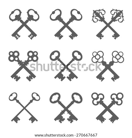 Set of crossed keys silhouettes vector illustration