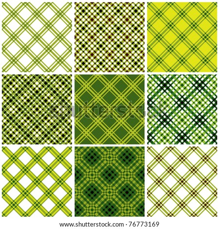 Set of crossed lines textile seamless patterns. Vector backgrounds collection.