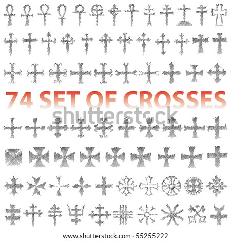 Set of Crosses Vector pencil scribble