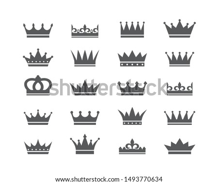 Set of crown icons. Collection of crown awards for winners, champions, leadership. Vector isolated elements for logo, label, game, hotel, an app design. Royal king, queen, princess crown.