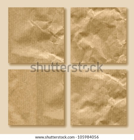 set of crumpled paper - stock vector
