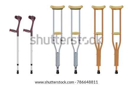 Set of crutches. Elbow crutch,  telescopic metal crutch,  wooden crutch. Medical equipment for rehabilitation of people with diseases of musculoskeletal system. Isolated objects. Vector illustration Stock photo ©