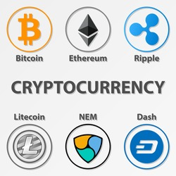 Set of 6 cryptocurrency icon. Colorful bitcoin, ethereum and etc