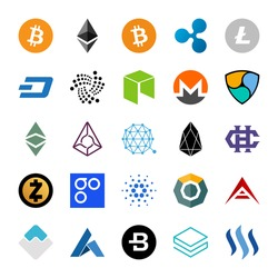 Set of cryptocurrency logo. Vector illustration.