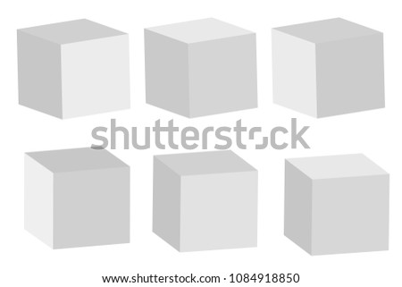 Set of cube icons. 3D cube model with perspective. Isolated on white background. Vector illustration. #1084918850