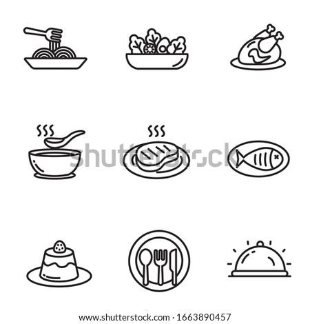 Set of cuisine icons in black line design. Foods vector illustration in simple black and white design isolated on white background Foto stock ©