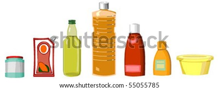 set of culinary sauces and oils on white background