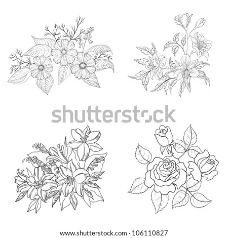 Set of cultivated flowers, black contour on white background: rose, lily, cosmos, alstroemeria. Vector illustration