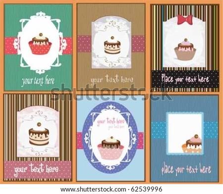 set of 6 cupcake designs