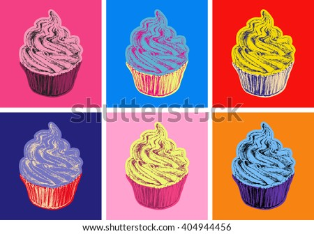 set of cupcake vector
