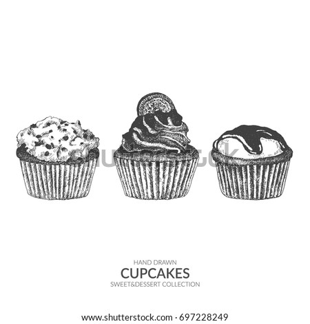 Set of cupcakes. Hand drawn vector element with ink and pen. Vintage black and white illustration. Sweet and dessert collection.